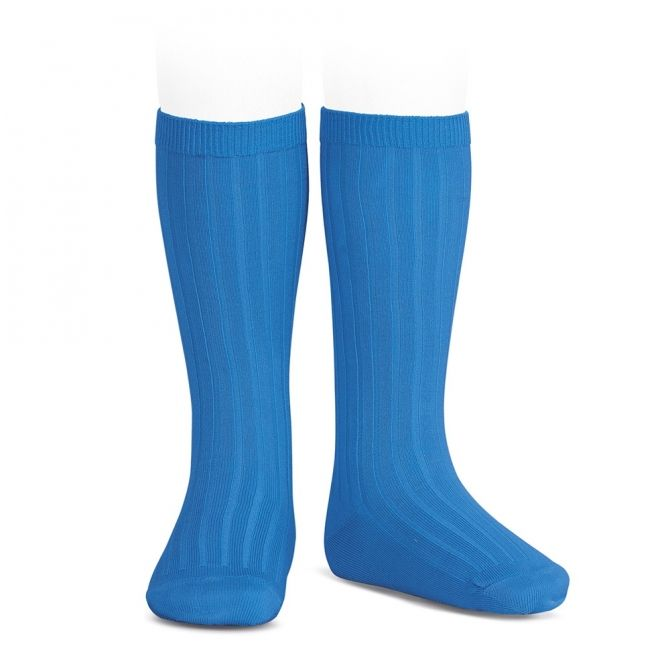 Wide Ribbed Cotton Knee High Socks electric blue - Condor