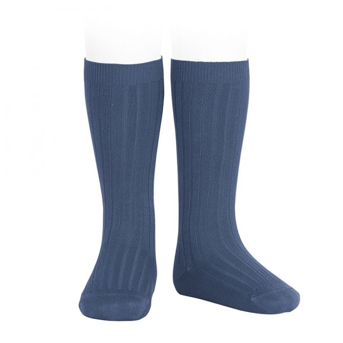 Wide Ribbed Cotton Knee High Socks cobalt - Condor