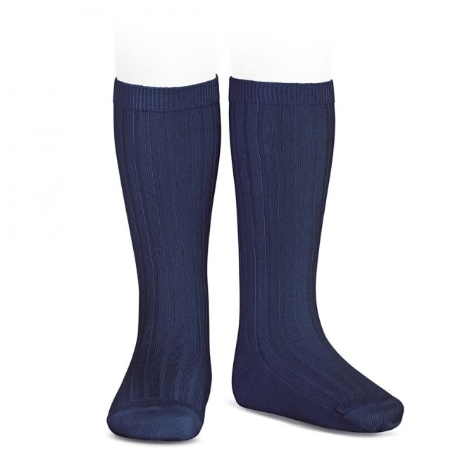Wide Ribbed Cotton Knee High Socks navy blue - Condor