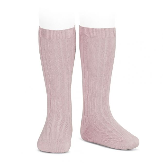 Wide Ribbed Cotton Knee High Socks pale pink - Condor