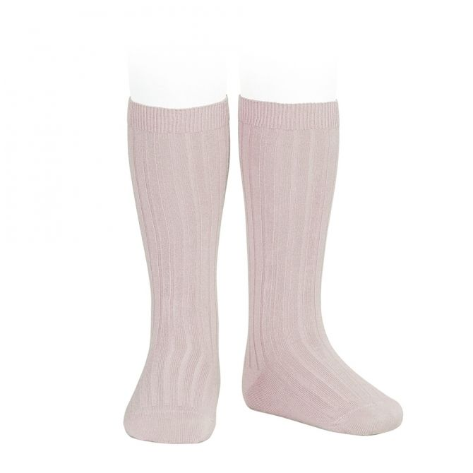 Wide Ribbed Cotton Knee High Socks old rose - Condor