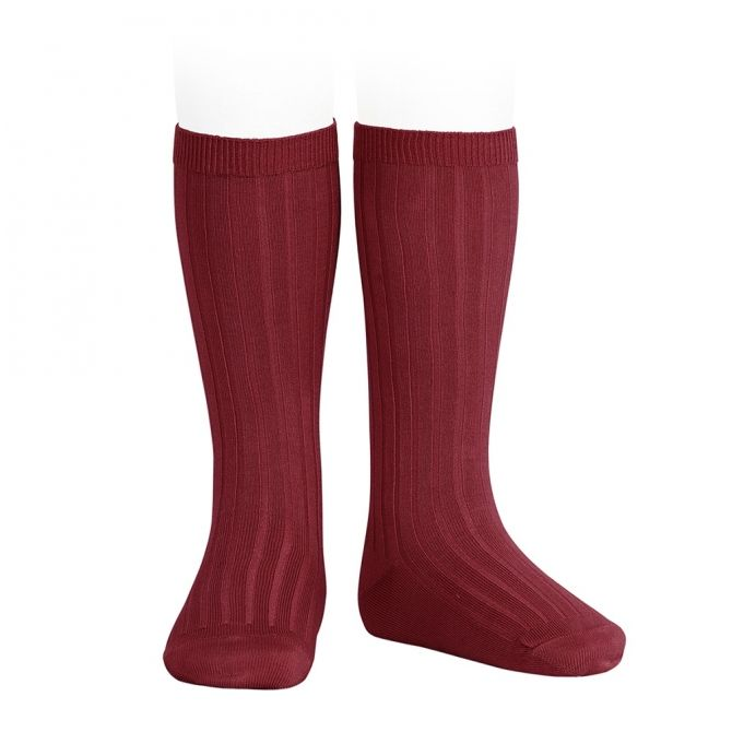 Wide Ribbed Cotton Knee High Socks ruby - Condor