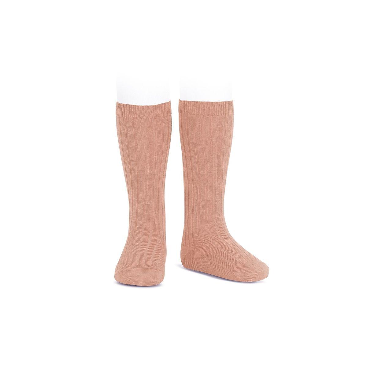 Wide Ribbed Cotton Knee High Socks peony - Condor