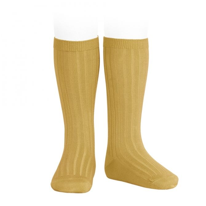 Condor Wide Ribbed Cotton Knee High Socks curry
