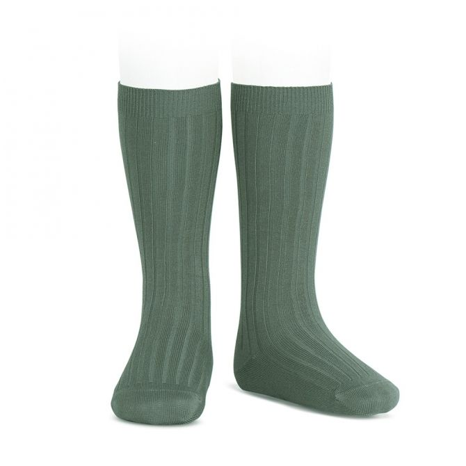 Wide Ribbed Cotton Knee High Socks lichen green - Condor