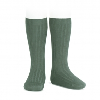 Wide Ribbed Cotton Knee High Socks lichen green