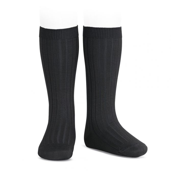 Wide Ribbed Cotton Knee High Socks black - Condor