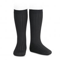 Wide Ribbed Cotton Knee High Socks black