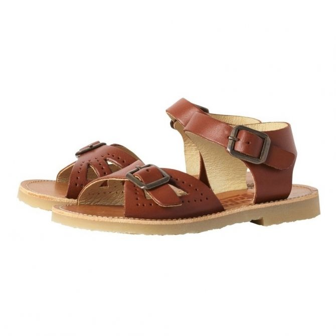 Young Soles Sandals Pearl Leather Chestnut brown