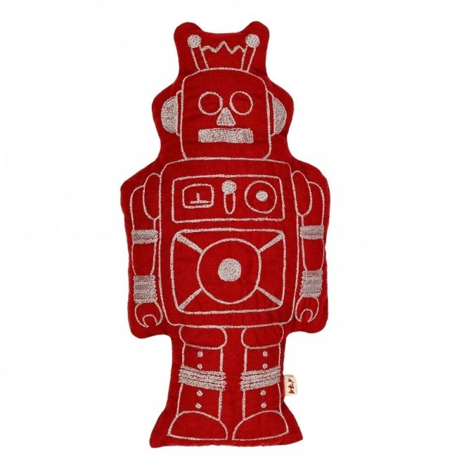 Robot Cushion Minc ruby red
