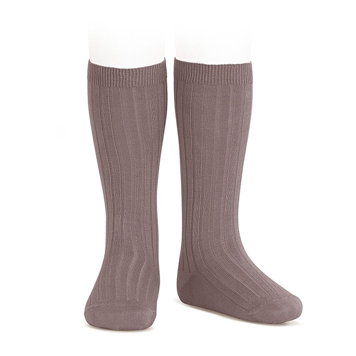 Condor Wide Ribbed Cotton Knee High Socks praline