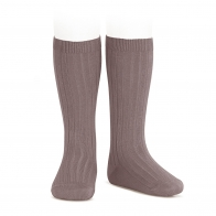 Wide Ribbed Cotton Knee High Socks praline