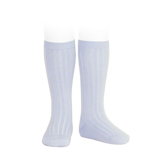 Condor Wide Ribbed Cotton Knee High Socks baby blue