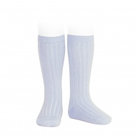 Wide Ribbed Cotton Knee High Socks baby blue