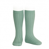 Wide Ribbed Cotton Knee High Socks jade