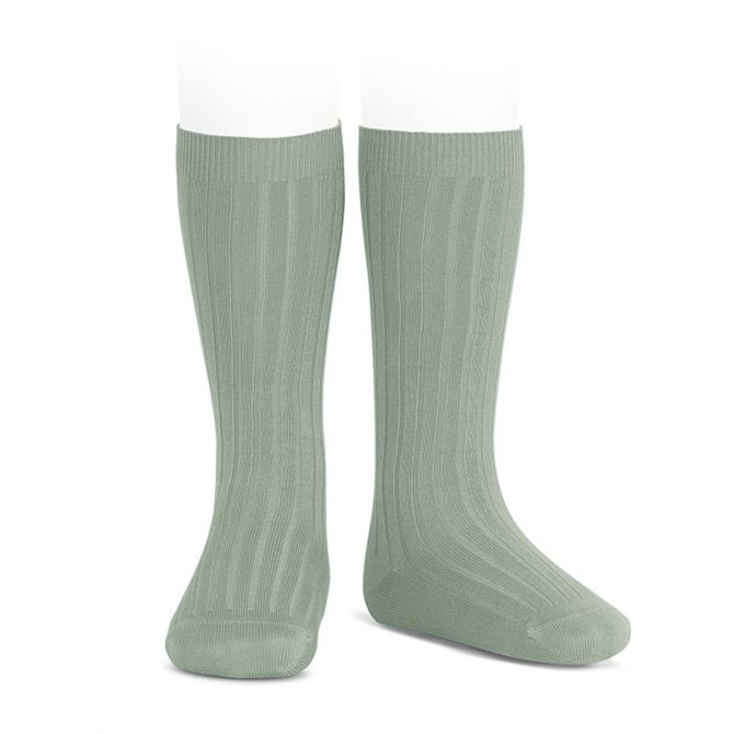 Wide Ribbed Cotton Knee High Socks sage - Condor