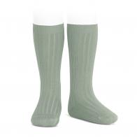 Wide Ribbed Cotton Knee High Socks sage