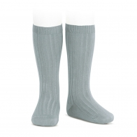 Wide Ribbed Cotton Knee High Socks dry green