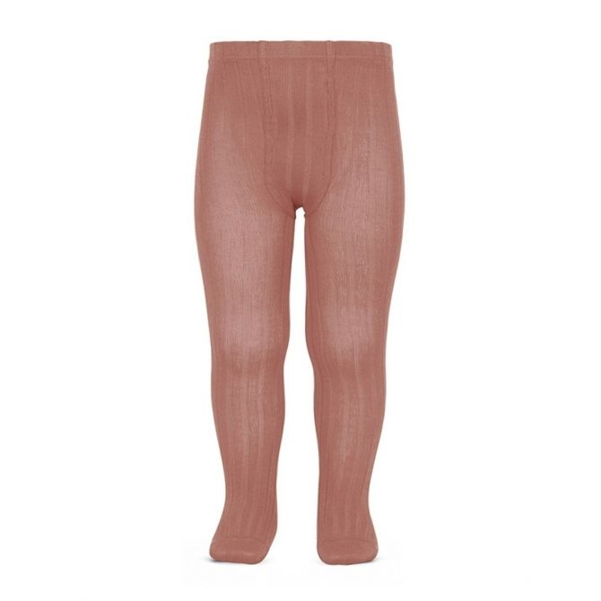 Condor Wide Ribbed Cotton Tights terracota