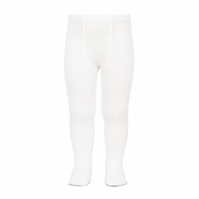 Wide Ribbed Cotton Tights white - Condor