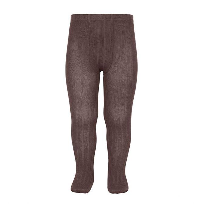 Condor Wide Ribbed Cotton Tights praline