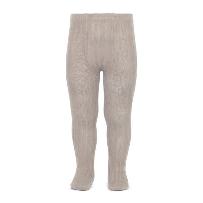 Wide Ribbed Cotton Tights stone - Condor