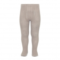 Wide Ribbed Cotton Tights stone