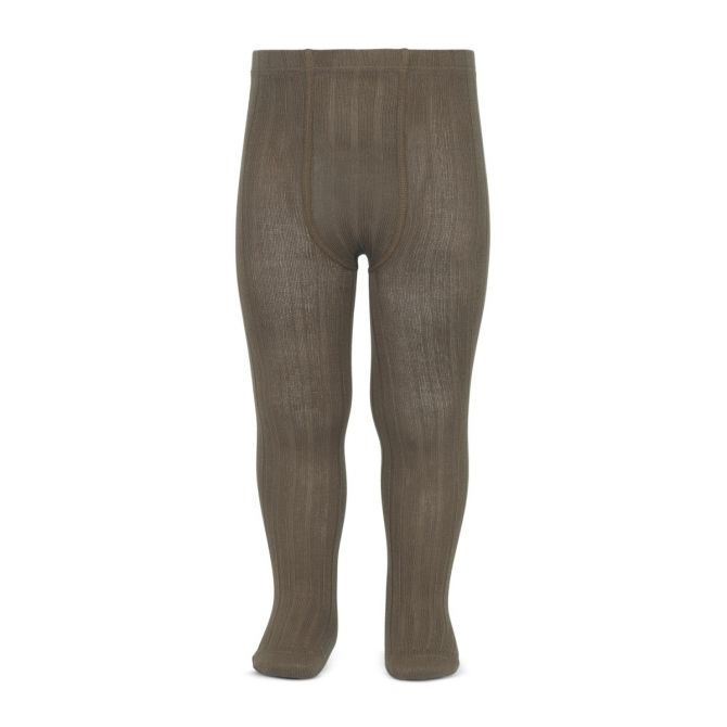 Wide Ribbed Cotton Tights mink - Condor