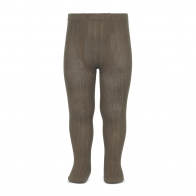 Wide Ribbed Cotton Tights mink