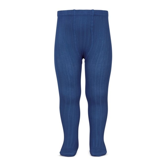 Wide Ribbed Cotton Tights indigo blue - Condor