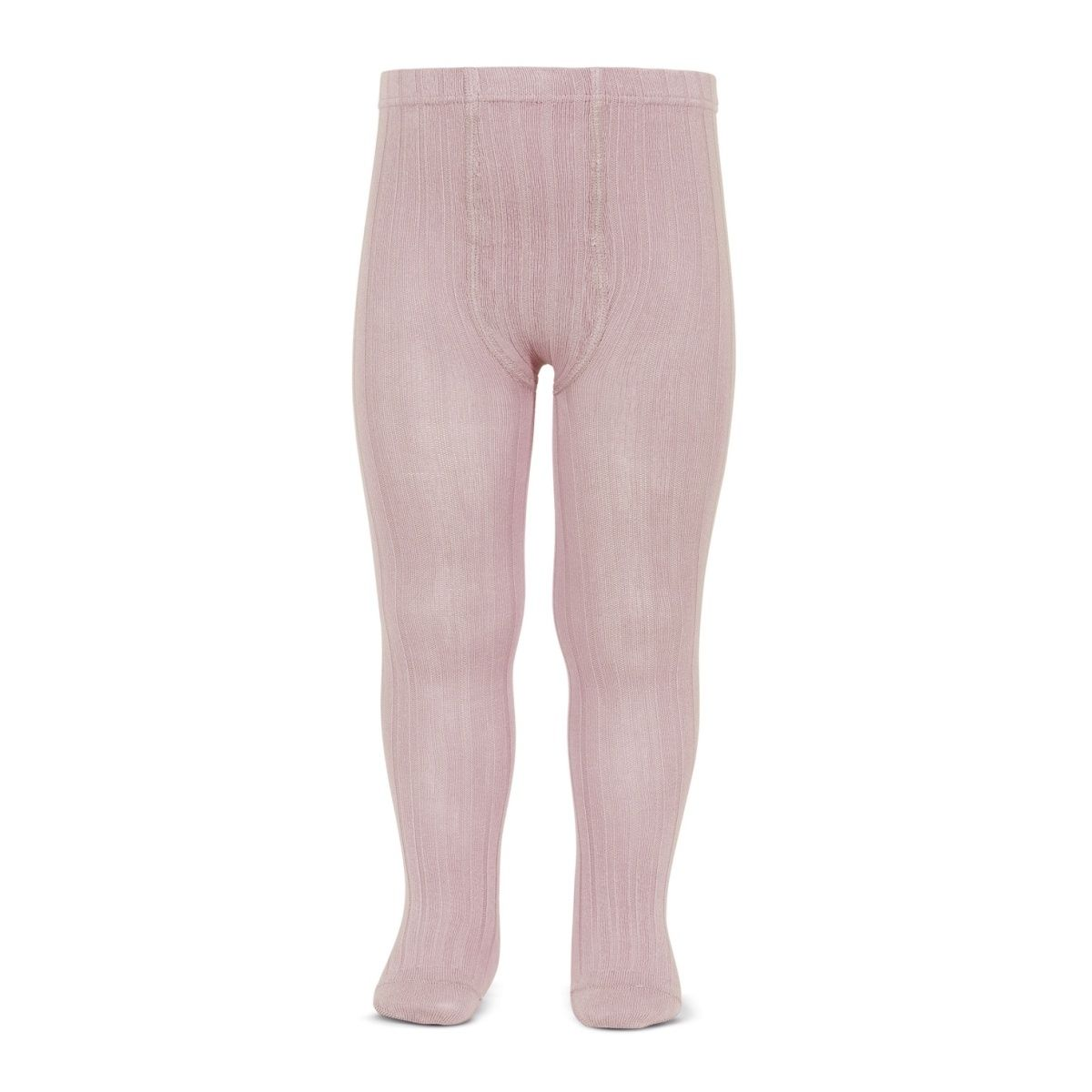 Wide Ribbed Cotton Tights pale pink - Condor