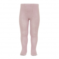 Wide Ribbed Cotton Tights pale pink