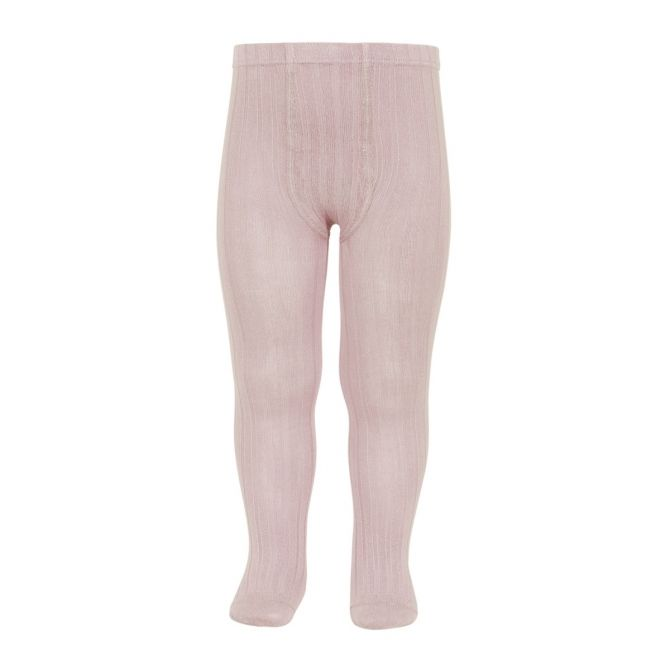Wide Ribbed Cotton Tights old rose - Condor