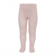 Wide Ribbed Cotton Tights old rose