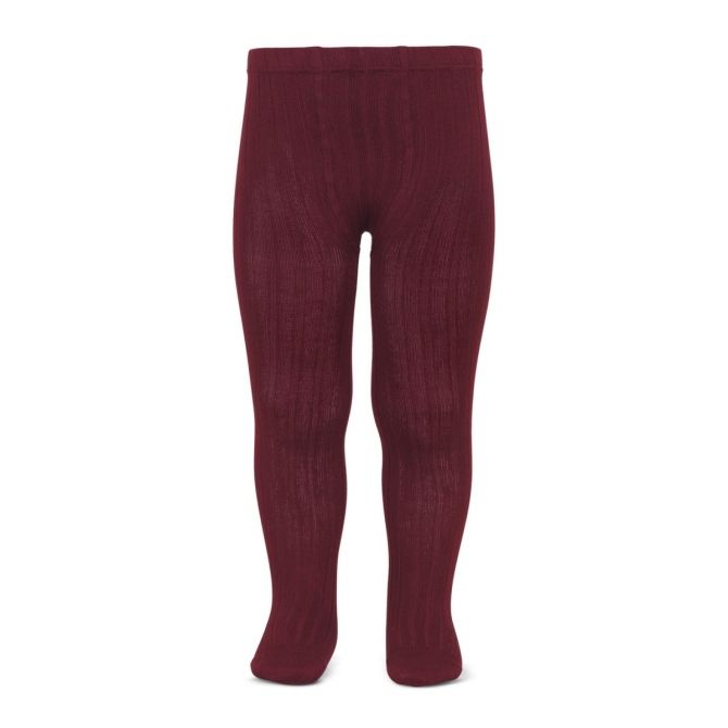 Wide Ribbed Cotton Tights burgundy - Condor