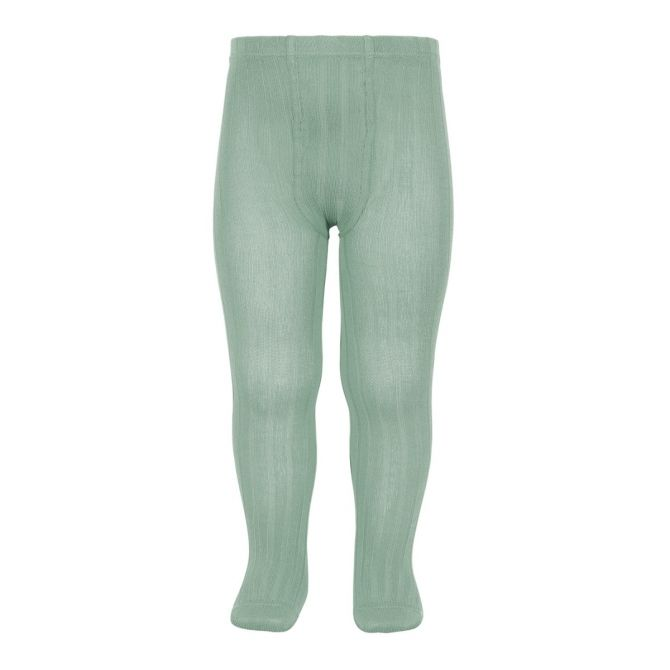 Condor Wide Ribbed Cotton Tights jade