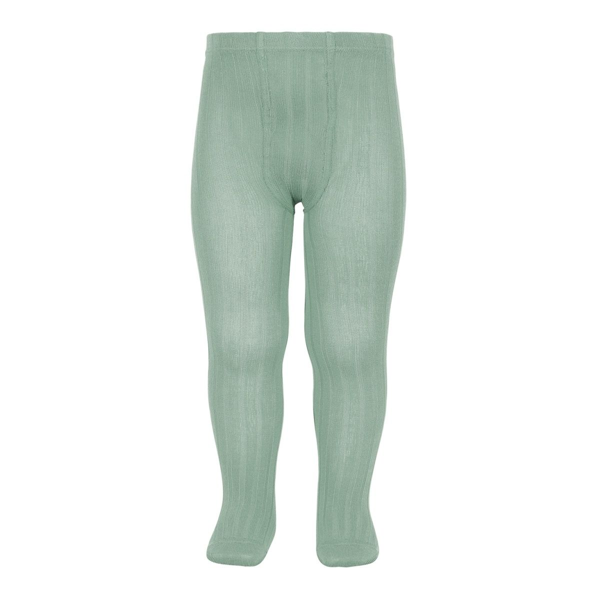 Wide Ribbed Cotton Tights jade - Condor