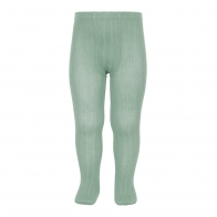 Wide Ribbed Cotton Tights jade