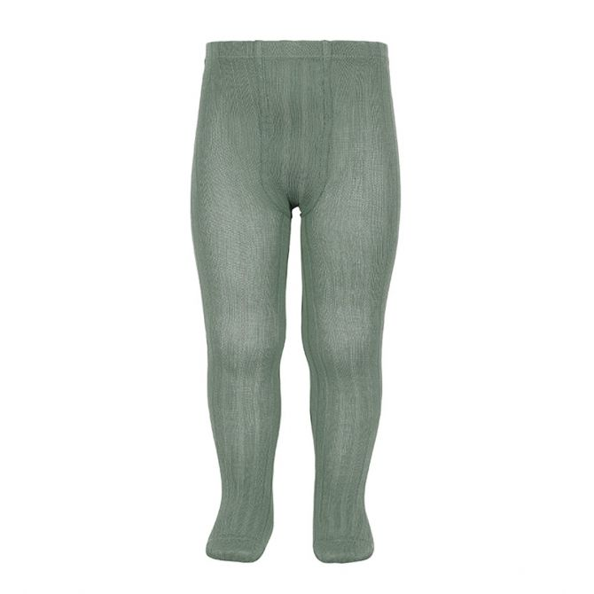 Wide Ribbed Cotton Tights sage - Condor