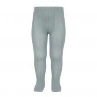 Wide Ribbed Cotton Tights dry green