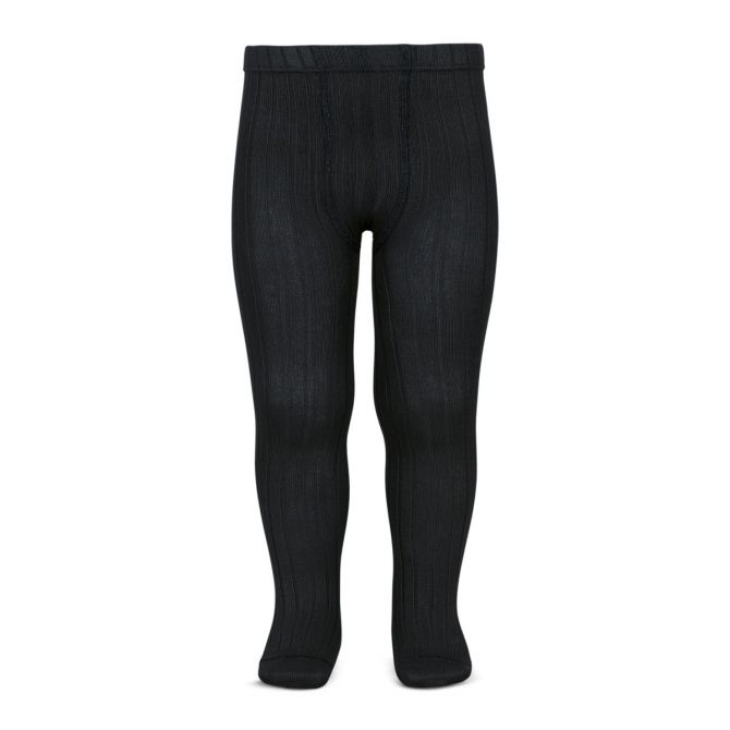 Wide Ribbed Cotton Tights black - Condor