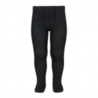 Wide Ribbed Cotton Tights black