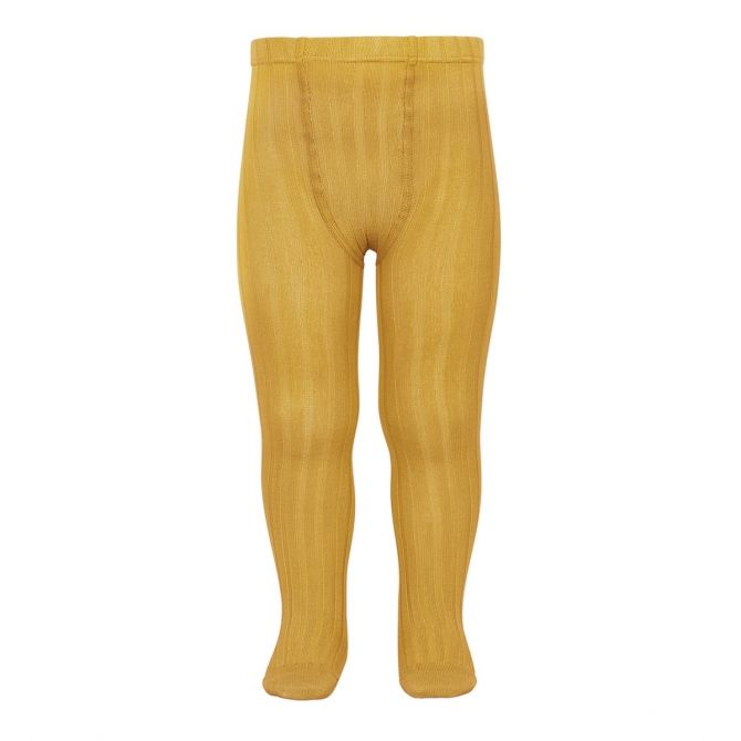Condor Wide Ribbed Cotton Tights mustard