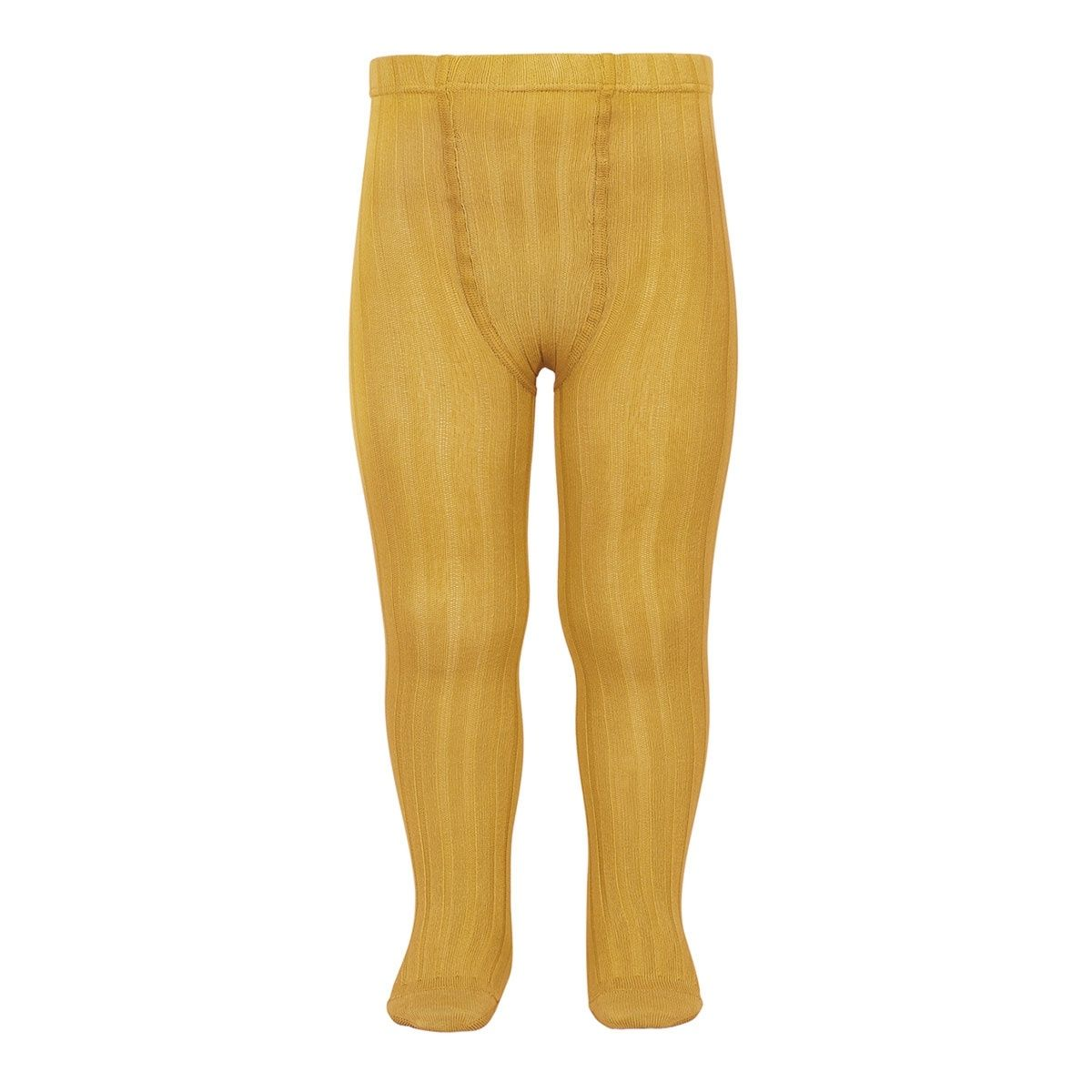 Wide Ribbed Cotton Tights mustard - Condor