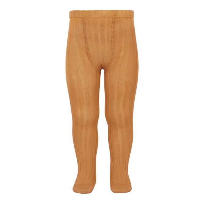 Wide Ribbed Cotton Tights toffee - Condor