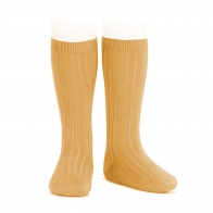 Wide Ribbed Cotton Knee High Socks mustard