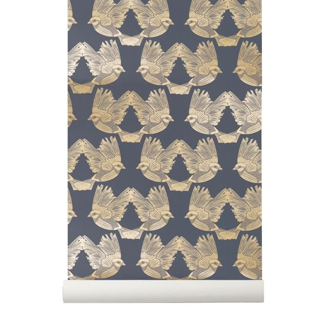 Birds Wallpaper blue - Ferm LIVING