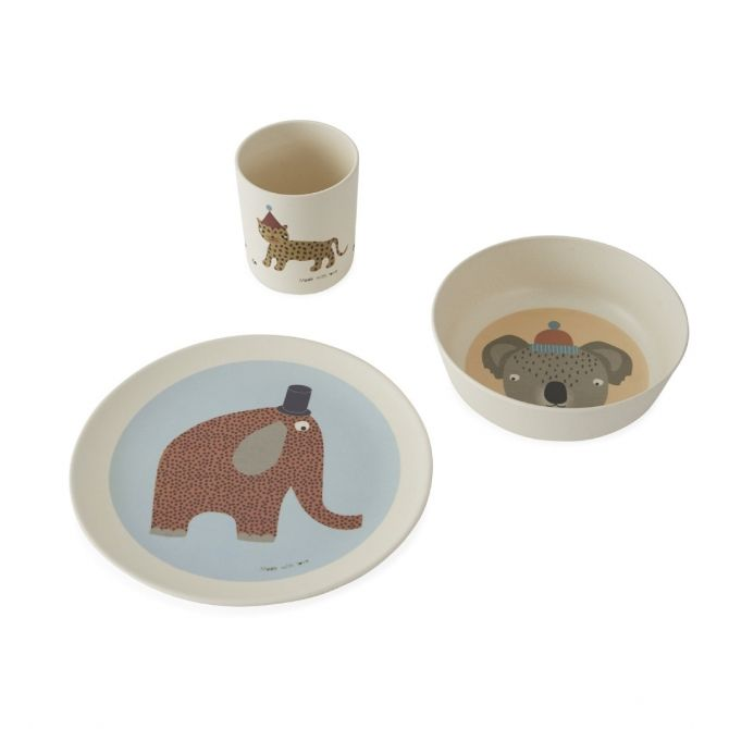 Hathi Bamboo tableware set multicolor - OYOY
