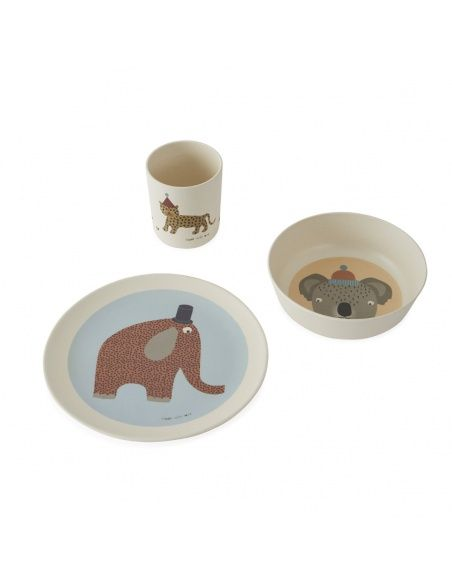 OYOY Hathi Bamboo tableware set multicolor