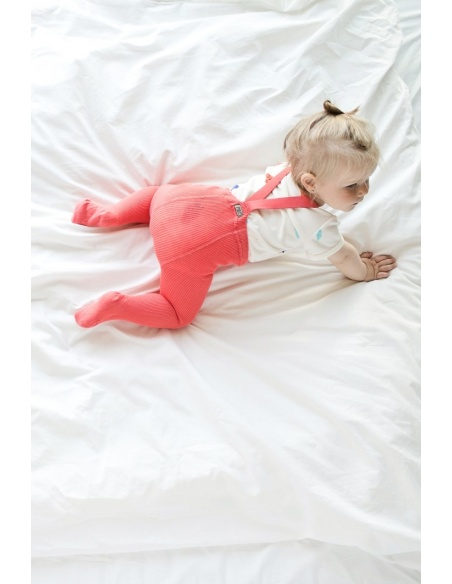 Mile Cotton tights with braces strawberry